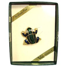 Vintage VENDOME Enamel FROG Scatter Pin - with Original Box