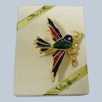 Vintage VENDOME  Enamel BIRD Scatter Pin  -  Brooch - Original Box