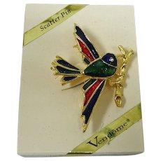 Vintage VENDOME  Enamel  BIRD Pin / Brooch - - with Original Box
