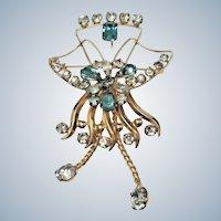 Vintage De Curtis Signed  12K Gold Filled Crystal Pendant / Brooch Combination