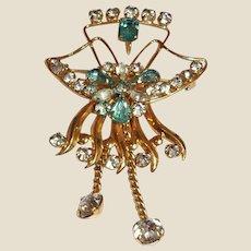 Vintage De Curtis Signed PENDANT / BROOCH Combination - 1/20 12K Gold Filled Crystal