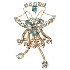 Estate De Curtis 12K Gold Filled Crystal Pendant / Brooch