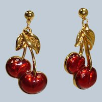 Vintage AVON Red Cherry Enamel Pierced Dangle EARRINGS