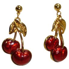 Vintage AVON Red Cherry Enamel Pierced Dangle EARRINGS
