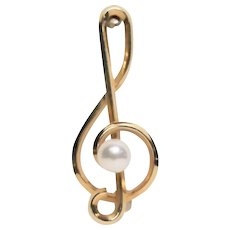 Vintage Krementz Cultured Pearl Pin - 14K Gold Overlay in Original Case - Treble Clef