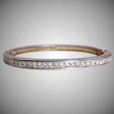 Vintage SWAROVSKI Crystal Hinged Bangle Bracelet - Early Swan Logo SWAROVSKI Jewelry