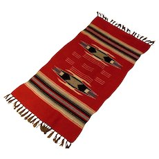 """40% OFF -  Antique Chimayo  Hand Woven Wool Rug  - Red Black Cream Grey-Brown and Blue - 42"""" by 19"""""""