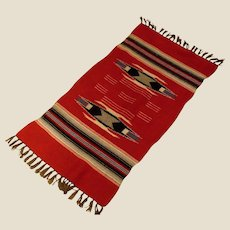 """Antique Chimayo  Hand Woven Wool Rug  - Red Black Cream Grey-Brown and Blue - 42"""" by 19"""""""