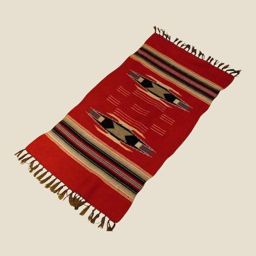 "Antique Chimayo  Hand Woven Wool Rug  - Red Black Cream Grey-Brown and Blue - 42"" by 19"""