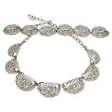 Vintage EMMONS Silver Tone Necklace and Bracelet - Demi Parure