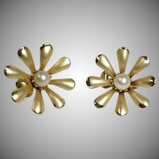 Vintage CORO Gold Tone  and Glass Pearl Earrings -  Early Clip-On Earrings