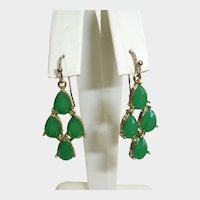 Vintage  Liz Claiborne Emerald Green Chandelier Drop Earrings