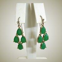 Vintage  Liz Claiborne Emerald Green Chandelier Drop Earrings