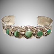 Vintage Native American Sterling Silver Turquoise Cuff Bracelet -  Signed Rudy Willie