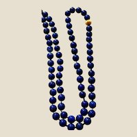 "SALE ... Vintage Lapis Lazuli Bead Necklace - 14K Yellow Gold Fluted Bead - 28"" Long and 5 mm Beads"