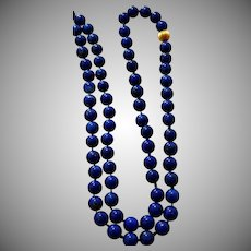 "Vintage Lapis Lazuli Bead Necklace - 14K Yellow Gold Fluted Bead - 28"" Long and 5 mm Beads"