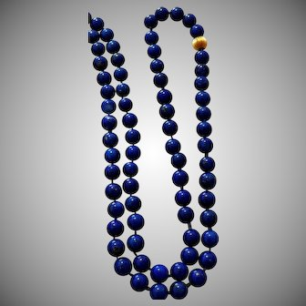 Vintage Lapis Lazuli Bead Necklace with a  14K Yellow Gold Fluted Bead