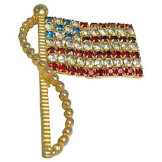 Estate RAFAELIAN Signed Rhinestone American Flag Brooch / Pin