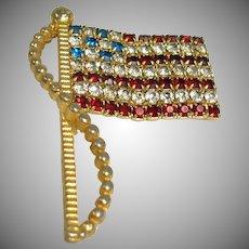 Estate RAFAELIAN Signed Rhinestone American Flag Brooch / Pin