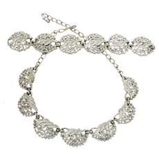 Vintage EMMONS Silver Tone Necklace and Bracelet - Demi Parure