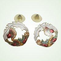 Vintage Cloisonne White Orange Red Green Floral Enamel Earrings - Pierced Earrings
