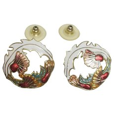 Vintage Cloisonne White Orange Red Green Floral Enamel Earrings - Pierced Earrings