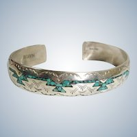 Vintage Nakai Signed Sterling Silver Inlaid Turquoise - Thunderbird Navajo Cuff Bracelet