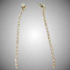 Vintage LONG Slim RHINESTONE Dangle Drop Rhinestone Earrings