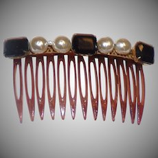 Vintage Miriam Haskell Jeweled Faux Tortoise Shell HAIR COMB  - Glass Baroque Pearls and Black Crystals