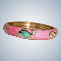 """Estate Pink Enamel and Gold Plated Hinge Bangle Bracelet - 7"""" - Turtles"""