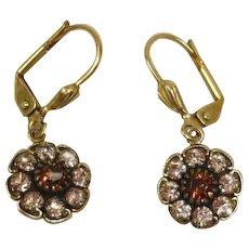 Vintage Designer Champagne Color Rhinestone  PIERCED Earrings