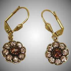 Vintage Designer Champagne Color Rhinestone  PIERCED Earrings