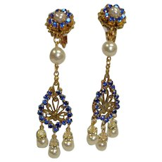 Vintage Miriam Haskell Signed Jewelry - Baroque Pearl and Rhinestone Dangle Drop Earrings