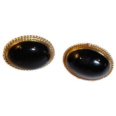 Vintage Black Onyx and 14 K Gold Pierced Earrings