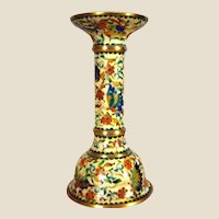"Early Cloisonne and Gilt Bronze Candlestick -  Enamel Butterfly and Flowers Candle Holder - 6""h"