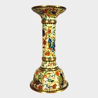 """Early Cloisonne and Gilt Bronze Candlestick -  Enamel Butterfly and Flowers Candle Holder - 6""""h"""