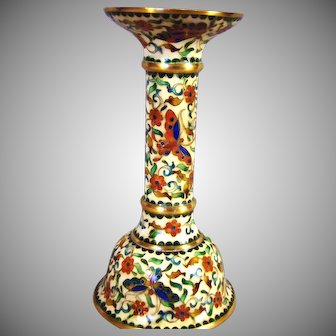 "Vintage Chinese Cloisonne and Gilt Bronze Candlestick - Butterfly and Flowers - 6""h"
