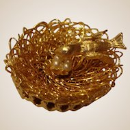 Vintage Hobe Pin Brooch -   Petite Bird in a  Nest with Glass Pearl Eggs