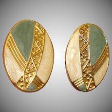 Vintage Sage Green and Cream Enamel Gold Tone Earrings - Pierced Earrings