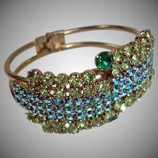 Vintage Rhinestone  Aurora Borealis Clamper Bracelet