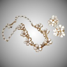 Vintage White Lucite with Rhinestone Flowers Necklace and Earrings Demi Parure or Small Set