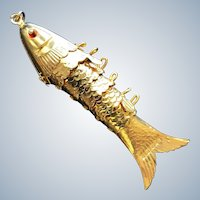 Vintage Hong Kong Signed - Gilt Articulated Fish Pendant  -  Flexible Fish Pendant  or Charm