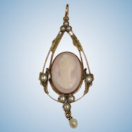 Antique 10K Yellow and Rose Gold  Cameo & Seed Pearl  ART  NOUVEAU Lavaliere Pendant