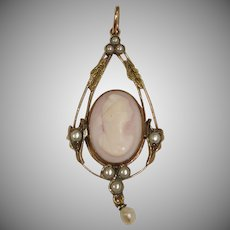 Antique 10K Yellow and Rose Gold  Cameo & Seed Pearl  Lavaliere Pendant