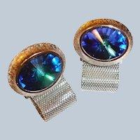 Vintage DANTE Blue Rivoli Rhinestone Silvertone Mesh CUFFLINKS / Cuff Links