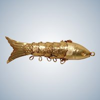 Vintage Articulated Highly Detailed Gold Tone Fish Pendant