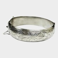 """Victoria Sterling Silver Etched Floral Hinged Cuff Bangle Bracelet - 6-3/4"""""""