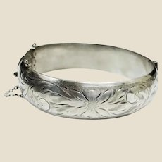 """SALE 30% OFF***Victorian Sterling Silver Etched Floral Hinged Cuff Bangle Bracelet - 6-3/4"""""""