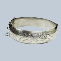 SALE *** Victorian Sterling Silver Etched Floral Hinged Cuff Bangle Bracelet - 6-3/4""