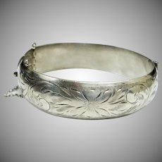 """Victorian Sterling Silver Etched Floral Hinged Cuff Bangle Bracelet - 6-3/4"""""""